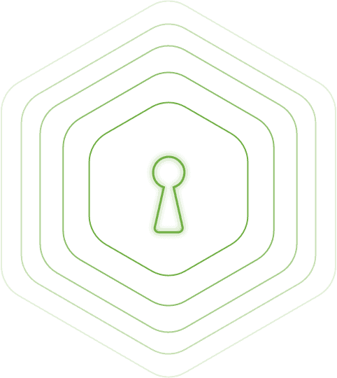 Neon green keyhole symbol outlined