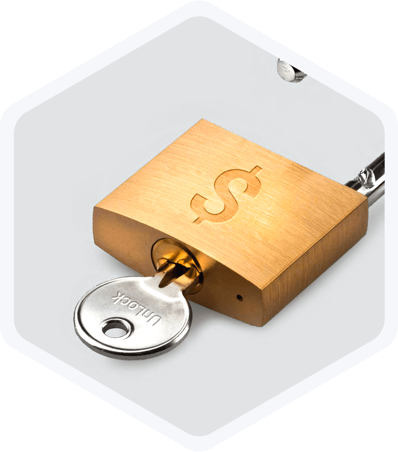 Main Lock: key with Unlock logo in a lock with money symbol on it